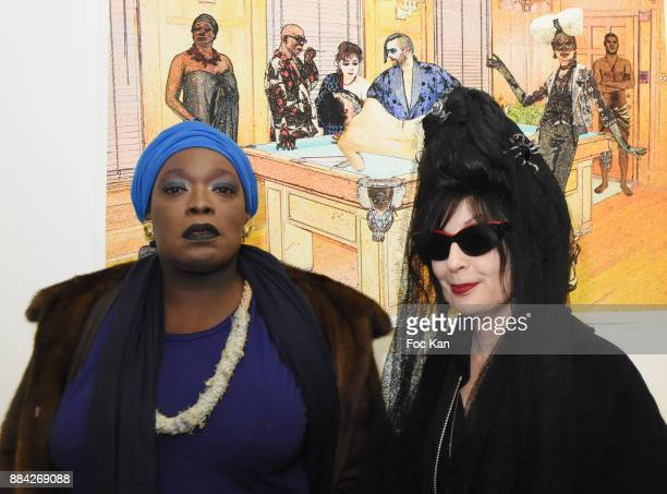 Christine Mingo and Diane Pernet attend Lenedy Angot Calendar 2018 launch at Galerie Fabrice Hybert on December 1 2017 in Paris France