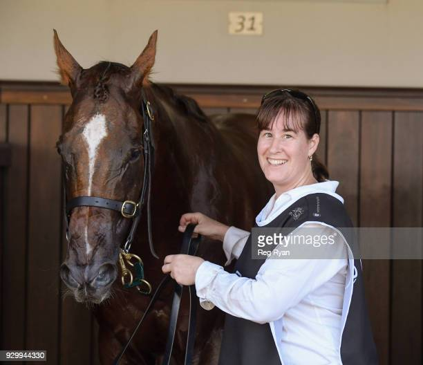 Christine Mitchell and Redkirk Warrior after winning the Lexus Newmarket Handicap at Flemington Racecourse on March 10 2018 in Flemington Australia
