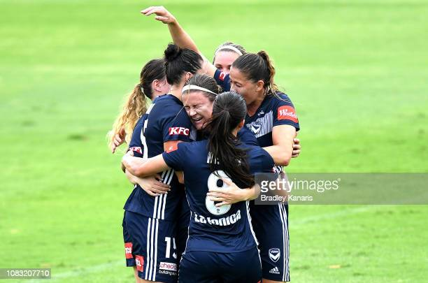 Christine Nairn of the Victory celebrates scoring a goal during the round seven WLeague match between the Brisbane Roar and the Melbourne Victory at...