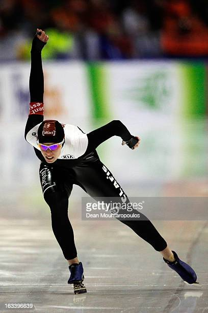 Christine Nesbitt of Canada competes in the 1000m Ladies race on Day 2 of the Essent ISU World Cup Speed Skating Championships 2013 at Thialf Stadium...