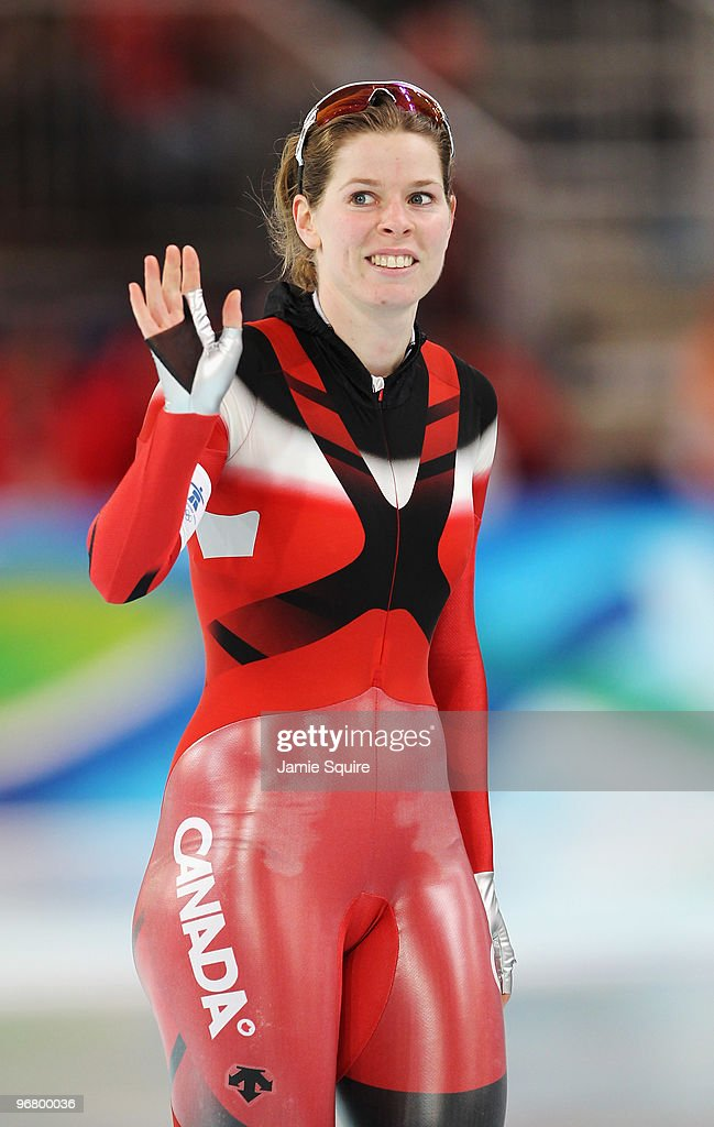 Christine Nesbitt of Canada looks on after she competes in the women's speed skating 500 m on day five of the Vancouver 2010 Winter Olympics at Richmond Olympic Oval on February 16, 2010 in Vancouver, Canada.