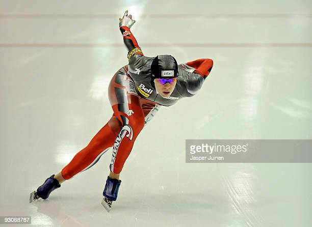 Christine Nesbitt of Canada on her way to clock the fastest time in the 1000m race during the Essent ISU speed skating World Cup at the Thialf...