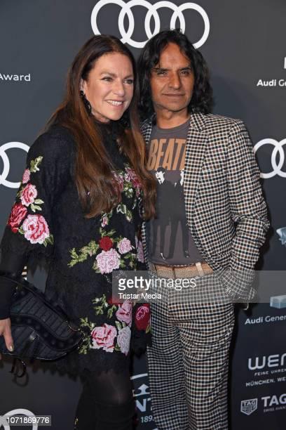 Christine Neubauer and her boyfriend Jose Campos arrive at Audi Generation Award 2018 at Hotel Bayerischer Hof on December 11 2018 in Munich Germany