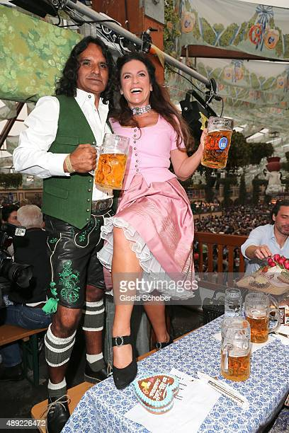 Christine Neubauer and her partner Jose Campos during the Oktoberfest 2015 Opening at Hofbraeu beer tent at Theresienwiese on September 19 2015 in...