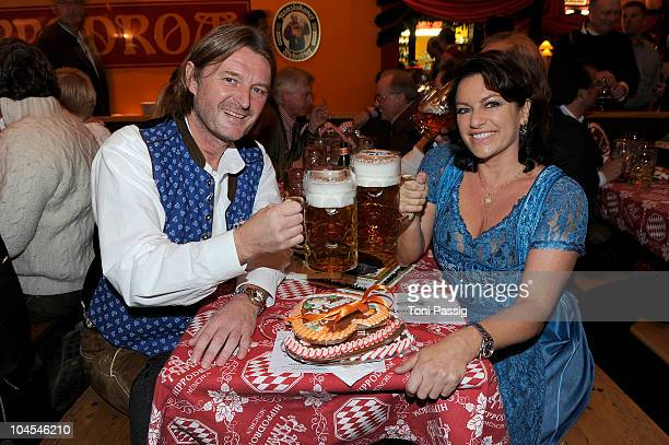 Christine Neubauer and husband Lambert Dinzinger attend the Bunte Wiesn at Hippodrom during the Oktoberfest 2010 at Theresienwiese on September 29,...