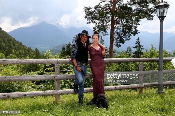 "Christine Neubauer and Jose Campos pose during the 3rd season ""Watzmann ermittelt"" photocall for ""Die verkaufte Braut"" on June 8, 2021 at..."