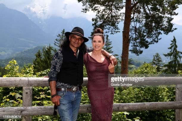 """Christine Neubauer and Jose Campos pose during the """"Watzmann ermittelt"""" photocall for """"Die verkaufte Braut"""" on June 8, 2021 at Kastensteinerwand Alm..."""