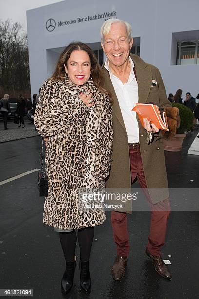 Christine Neubauer and SJo Groebel attend the Minx by Eva Lutz show during the MercedesBenz Fashion Week Berlin Autumn/Winter 2015/16 at Brandenburg...