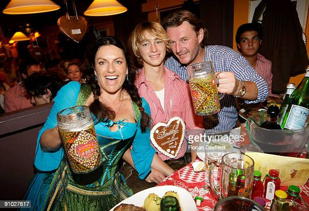 Christine Neubauer and son Lambert Dinzinger and husband Lambert Dinzinger attend the Davidoff wiesn 2009 at Hippodrom at the Theresienwiese on...