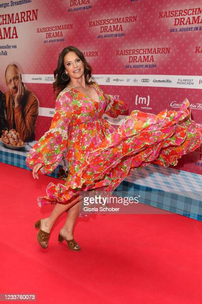 """Christine Neubauer attends the premiere of """"Kaiserschmarrndrama"""" during the opening of the 38th Munich Film Festival on July 1, 2021 in Munich,..."""