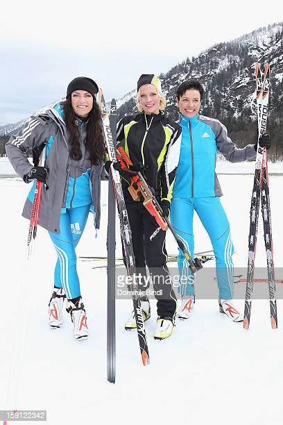 Christine Neubauer Eva Habermann and Sabine Spitz attend the TV show Star Biathlon 2013 on January 8 2013 in Ruhpolding Germany