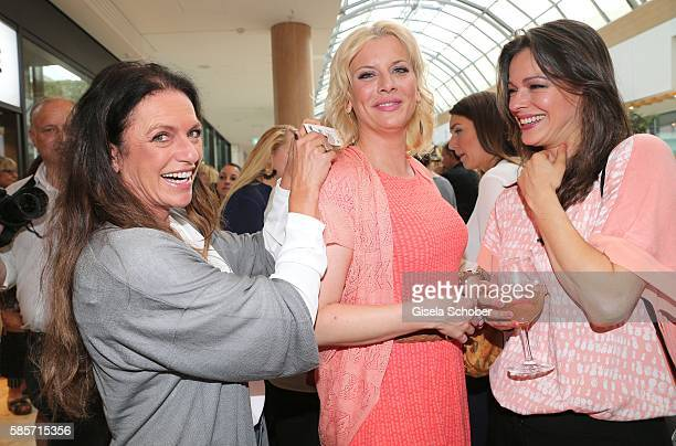 Christine Neubauer, Eva Habermann and Suzan Anbeh during the TRIANGLE store opening at Riem Arcaden on August 3, 2016 in Munich, Germany.
