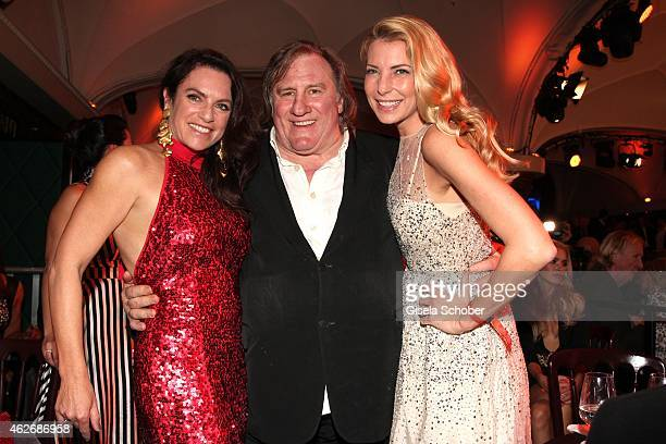 Christine Neubauer Gerard Depardieu Giulia Siegel during the Lambertz Monday Night 2015 at Alter Wartesaal on February 2 2015 in Cologne Germany