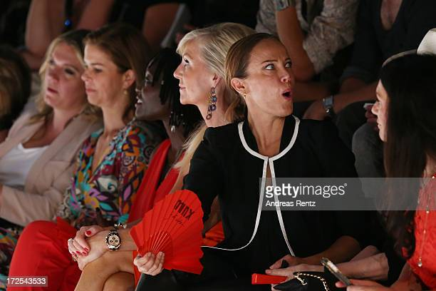 Christine Neubauer Sonja Kirchberger and Marion Vedder attend the Minx By Eva Lutz Show during the MercedesBenz Fashion Week Spring/Summer 2014 at...