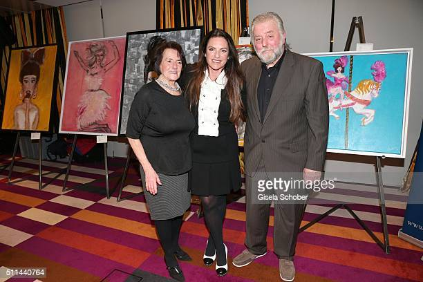 Christine Neubauer with her mother Lydia Neubauer and her father Erwin Neubauer during the 'Christine Neubauer Hautnah' exhibition opening at Hotel...