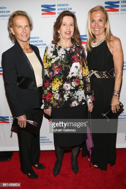 Christine Ockrent Sophie Bellon and Jane Hartley attend French American Foundation Annual Gala 2017 at Gotham Hall on November 28 2017 in New York...