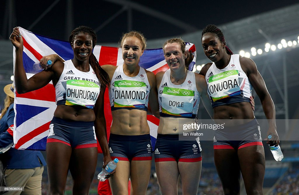 Christine Ohuruogu, Emily Diamond, Eilidh Doyle and Anyika Onuora of Great Britain react after winning bronze in the Women's 4 x 400 meter Relay on Day 15 of the Rio 2016 Olympic Games at the Olympic Stadium on August 20, 2016 in Rio de Janeiro, Brazil.