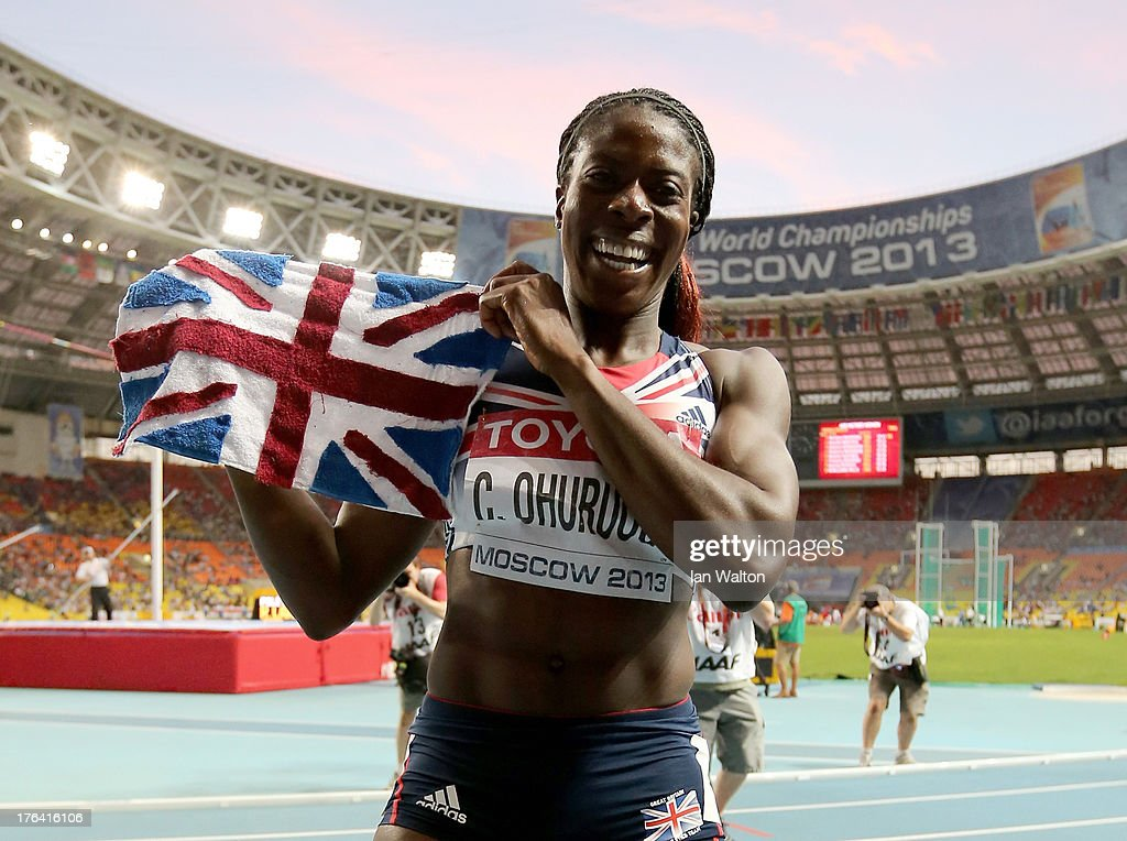 Christine Ohuruogu of Great Britain celebrates winning gold in the Women's 400 metres final during Day Three of the 14th IAAF World Athletics Championships Moscow 2013 at Luzhniki Stadium on August 12, 2013 in Moscow, Russia.