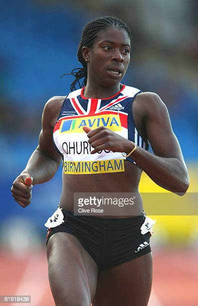 Christine Ohuruogu of Great Britain competes in the Womens 200m during the Aviva National Championships Olympic Trials at Alexander Stadium on July...