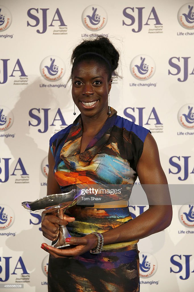 Christine Ohuruogu of Great Britain holds the Sports Woman of the Year Award during the SJA British Sports Awards at Tower of London on December 12, 2013 in London, England.
