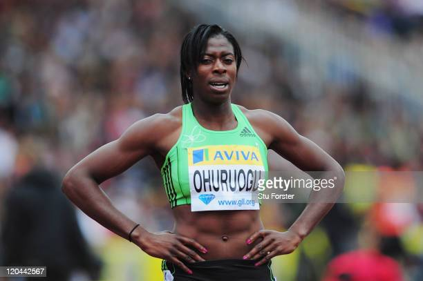 Christine Ohuruogu of Great Britain reacts after competing in the Womens 400m final during the Aviva London Grand Prix at Crystal Palace on August 6,...