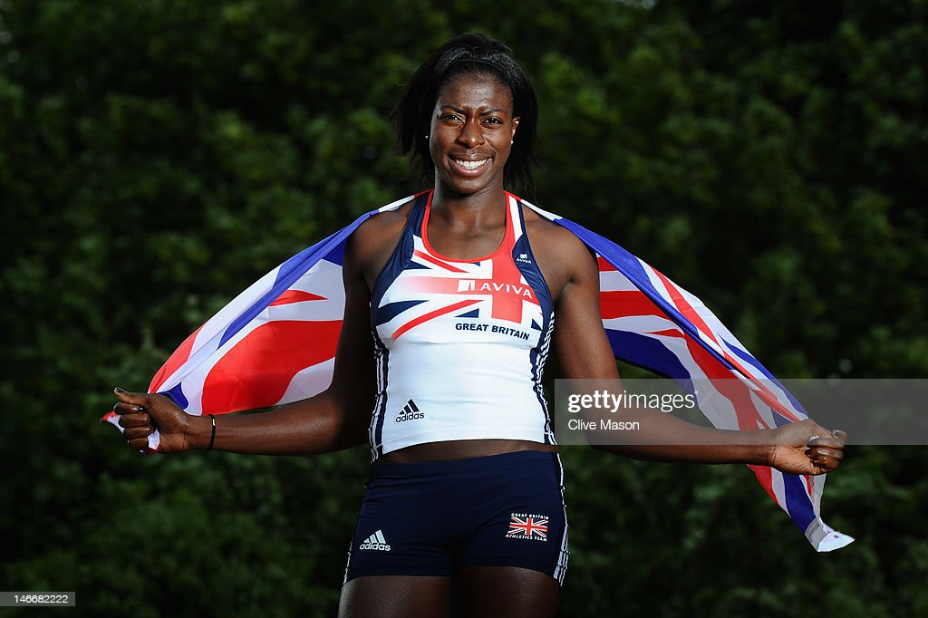 Christine Ohuruogu of the Aviva Great Britiain & Northern Ireland athletics team poses for pictures during an Aviva photo feature at Lee Valley on 18 May 2011 in London, England.