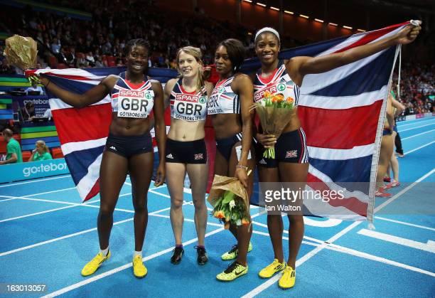 Christine OhuruoguEilidh Child Shana Cox and Perri ShakesDrayton of Great Britain and Northern Ireland win gold in the Women's 4x400m Relay Final...