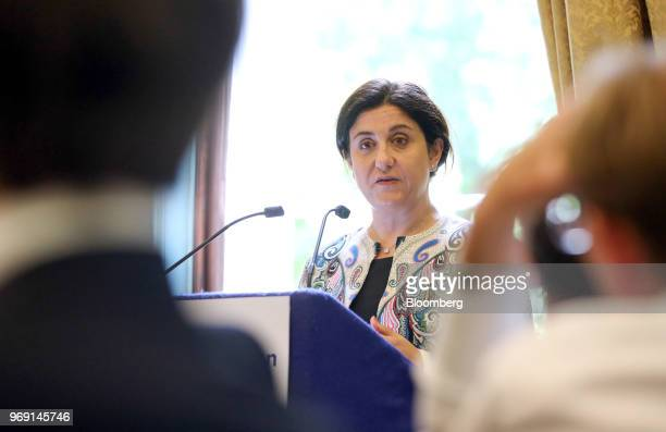 Christine OurmieresWidener chief executive officer of Flybe Group Plc speaks at an Aviation Club lunch in London UK on Thursday June 7 2018 Exeter...