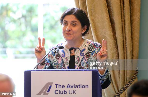 Christine OurmieresWidener chief executive officer of Flybe Group Plc gestures while speaking at an Aviation Club lunch in London UK on Thursday June...