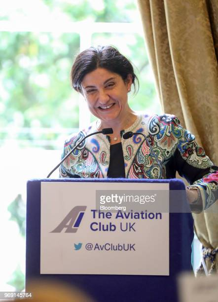 Christine OurmieresWidener chief executive officer of Flybe Group Plc reacts while giving a speech at an Aviation Club lunch in London UK on Thursday...