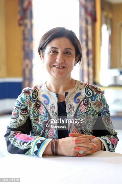 Christine OurmieresWidener chief executive officer of Flybe Group Plc poses for a photograph at an Aviation Club lunch in London UK on Thursday June...