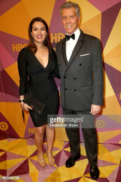 Christine Prado and Michael Buffer attend HBO's Official Golden Globe Awards After Party at Circa 55 Restaurant on January 7 2018 in Los Angeles...