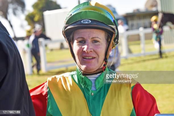 Christine Puls d after winning the Bendigo Door Centre Maiden Plate at Donald Racecourse on June 05 2020 in Donald Australia