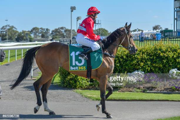 Christine Puls returns to the mounting yard on Jester Halo after winning the IGA Liquor Christmas Cheer BM70 Handicap at Geelong Racecourse on...