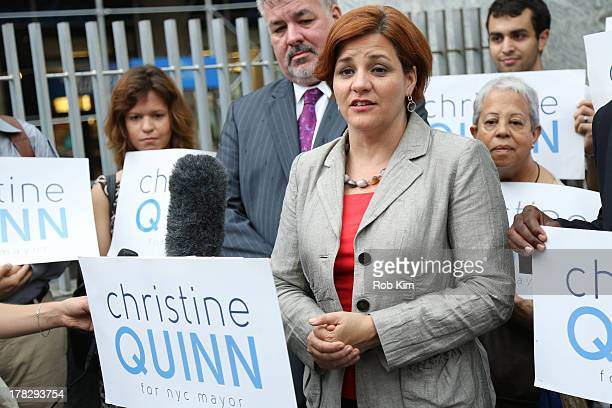 Christine Quinn campaigns in the 2013 New York City Mayoral Race in the Upper West Side on August 28 2013 in New York City