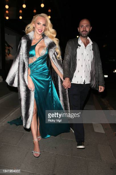 Christine Quinn seen leaving the launch party for Ciaté x Christine Quinn at The Marylebone Hotel on September 22, 2021 in London, England.