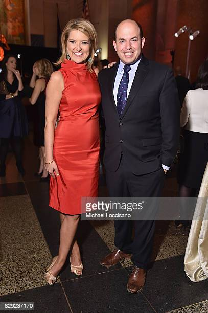 Christine Romans and Brian Stelter pose during the CNN Heroes Gala 2016 at the American Museum of Natural History on December 11 2016 in New York...