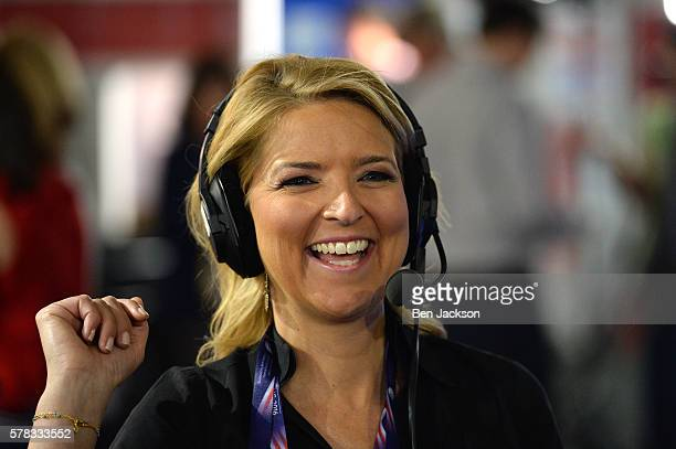 Christine Romans Chief Business Correspondent for CNN reacts to a comment by Pete Dominick during an episode of Stand Up with Pete Dominick on...
