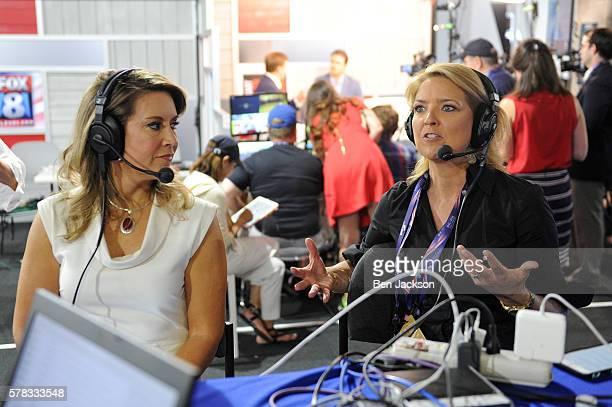 Christine Romans Chief Business Correspondent for CNN speaks during an episode of Stand Up with Pete Dominick on SiriusXM at Quicken Loans Arena on...