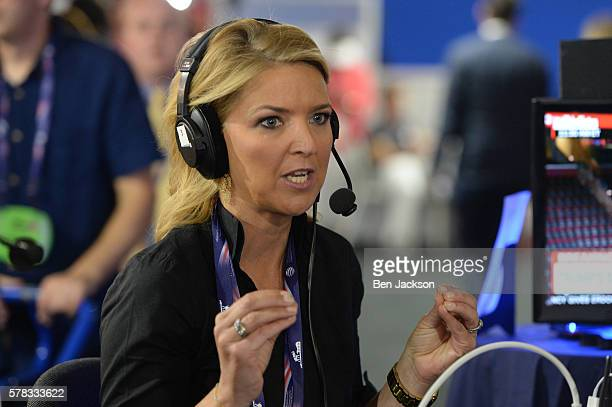 Christine Romans Chief Business Correspondent for CNN talks during an episode of Stand Up with Pete Dominick on SiriusXM at Quicken Loans Arena on...