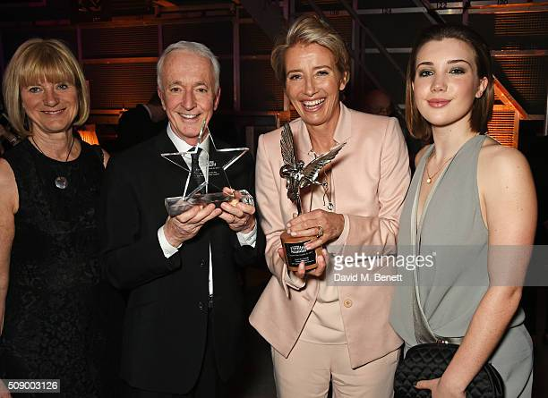 Christine Savage Anthony Daniels Emma Thompson and Gaia Romilly Wise attend the London Evening Standard British Film Awards after party at Television...