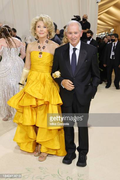 Christine Schwarzmann and Stephen Allen Schwarzman attend The 2021 Met Gala Celebrating In America: A Lexicon Of Fashion at Metropolitan Museum of...