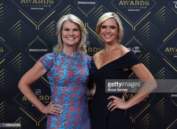 Christine Simpson and Kathryn Tappen walk the red carpet At the NHL Awards Ceremony on June 19, 2019 in Las Vegas, Nevada.