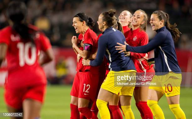 Christine Sinclair and her Canadian national team celebrate their win over Costa Rica during a game between Canada and Costa Rica at Dignity Health...