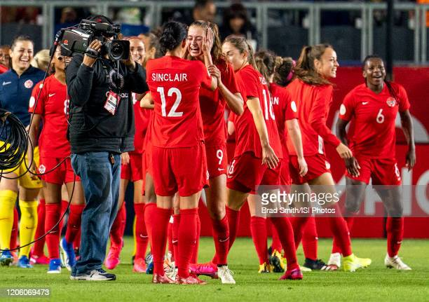 Christine Sinclair and Jordyn Huitema of Canada celebrate during a game between Canada and Costa Rica at Dignity Health Sports Park on February 07...