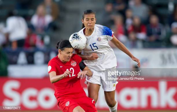 Christine Sinclair of Canada and Stephannie Blanco of Costa Rica fight for a ball during a game between Canada and Costa Rica at Dignity Health...