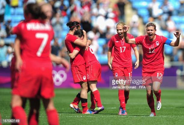 Christine Sinclair of Canada celebrate Bronze during the Women's Football Bronze Medal match between Canada and France on Day 13 of the London 2012...