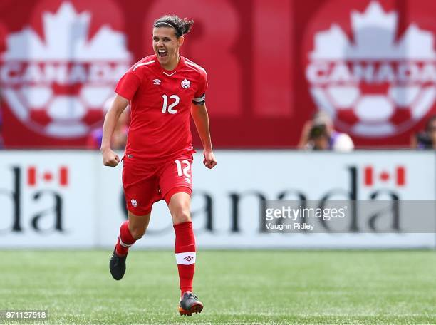 Christine Sinclair of Canada celebrates a goal during the second half of an International Friendly match against Germany at Tim Hortons Field on June...
