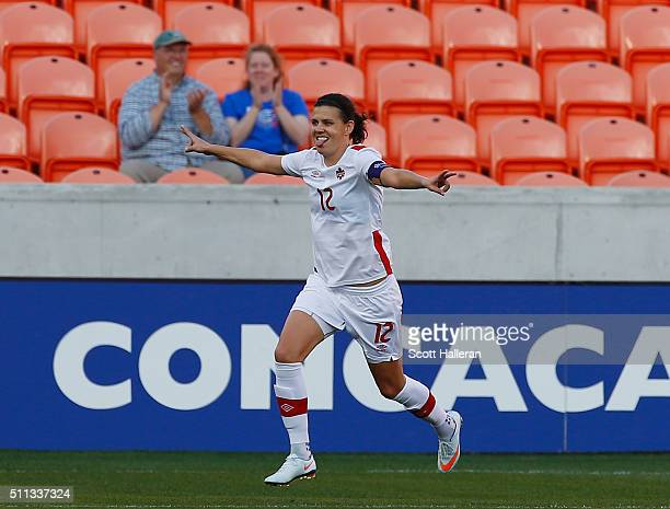Christine Sinclair of Canada celebrates after scoring a first half goal against Costa Rica during the Semifinal of the 2016 CONCACAF Women's Olympic...