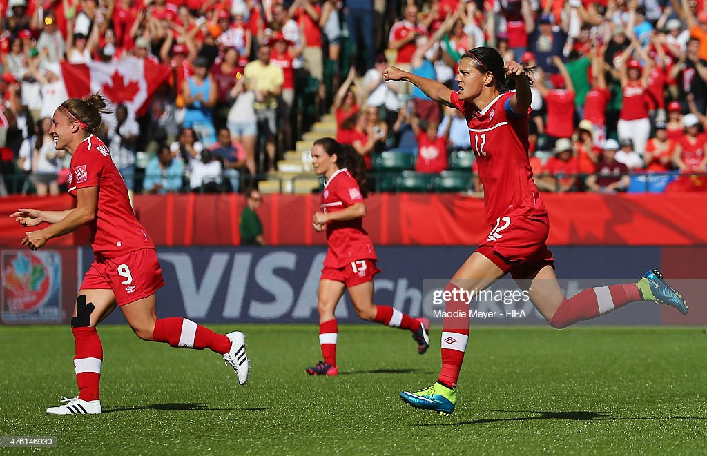Christine Sinclair #12 of Canada celebrates after scoring a game winning penalty kick against China PR during second half of the FIFA Women's World Cup Canada 2015 Group A match at Commonwealth Stadium on June 6, 2015 in Edmonton, Alberta, Canada. Canada defeat China PR